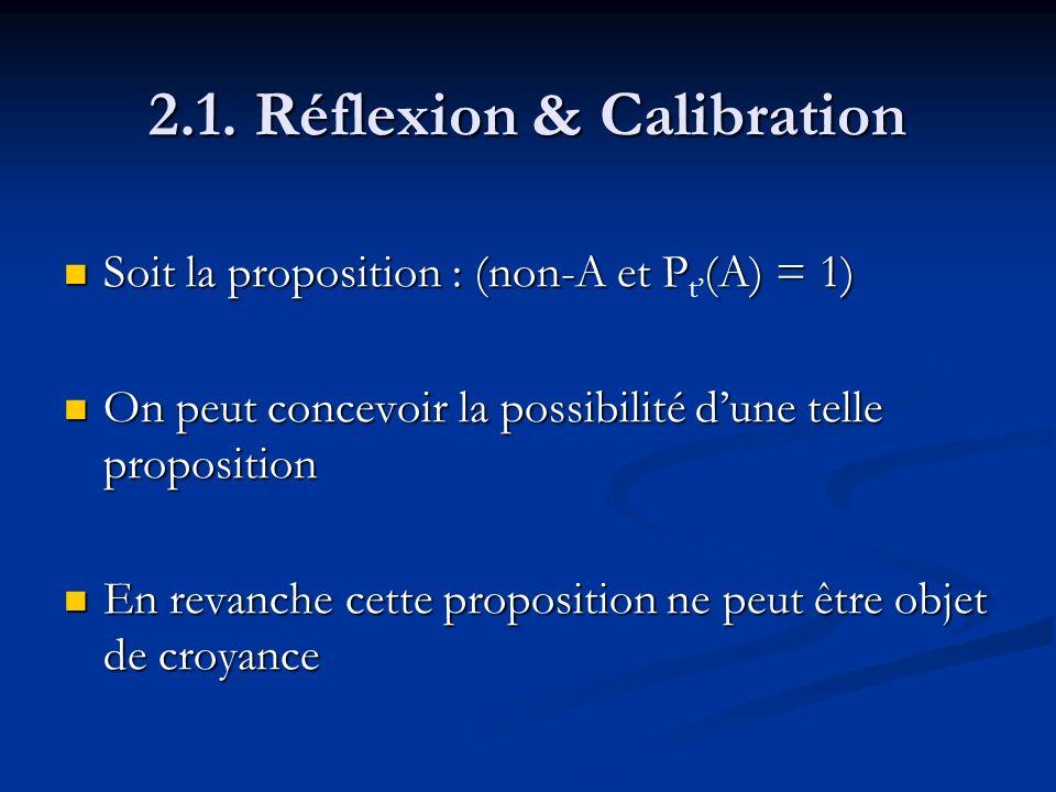 2.1. Réflexion & Calibration Soit la proposition : (non-A et P(A) = 1) Soit la proposition : (non-A et P t (A) = 1) On peut concevoir la possibilité d