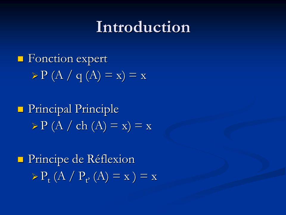 Introduction Fonction expert Fonction expert P (A / q (A) = x) = x P (A / q (A) = x) = x Principal Principle Principal Principle P (A / ch (A) = x) = x P (A / ch (A) = x) = x Principe de Réflexion Principe de Réflexion P t (A / P t (A) = x ) = x P t (A / P t (A) = x ) = x