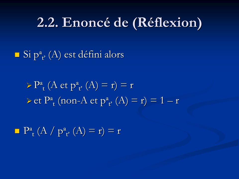 2.2. Enoncé de (Réflexion) Si p a t (A) est défini alors Si p a t (A) est défini alors P a t (A et p a t (A) = r) = r P a t (A et p a t (A) = r) = r e