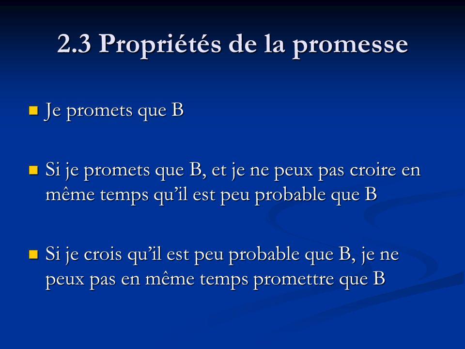 2.3 Propriétés de la promesse Je promets que B Je promets que B Si je promets que B, et je ne peux pas croire en même temps quil est peu probable que B Si je promets que B, et je ne peux pas croire en même temps quil est peu probable que B Si je crois quil est peu probable que B, je ne peux pas en même temps promettre que B Si je crois quil est peu probable que B, je ne peux pas en même temps promettre que B