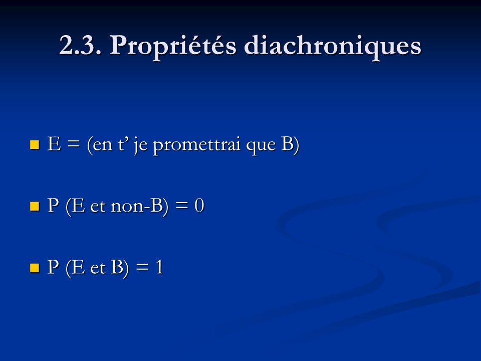 2.3. Propriétés diachroniques E = (en t je promettrai que B) E = (en t je promettrai que B) P (E et non-B) = 0 P (E et non-B) = 0 P (E et B) = 1 P (E