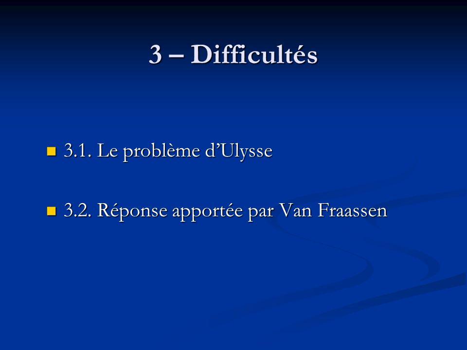 3 – Difficultés 3.1. Le problème dUlysse 3.1. Le problème dUlysse 3.2.