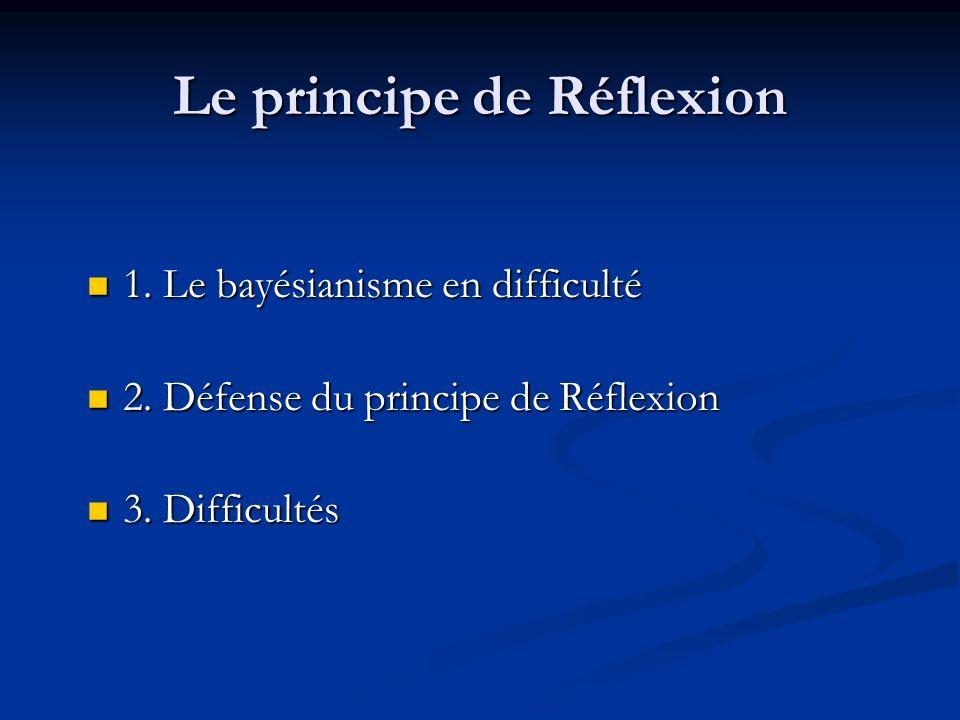 Le principe de Réflexion 1. Le bayésianisme en difficulté 1.