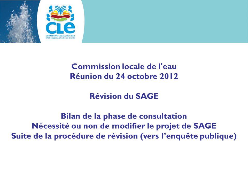 Commission locale de l'eau Réunion du 24 octobre 2012 Révision du SAGE Bilan de la phase de consultation Nécessité ou non de modifier le projet de SAG