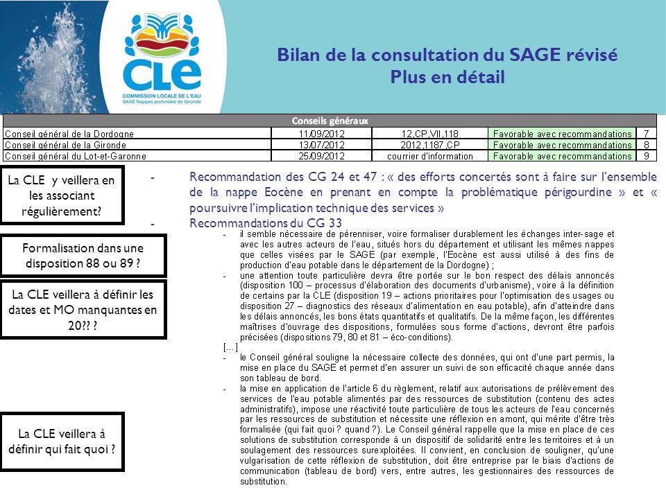 Bilan de la consultation du SAGE révisé Plus en détail -Recommandation des CG 24 et 47 : « des efforts concertés sont à faire sur lensemble de la napp