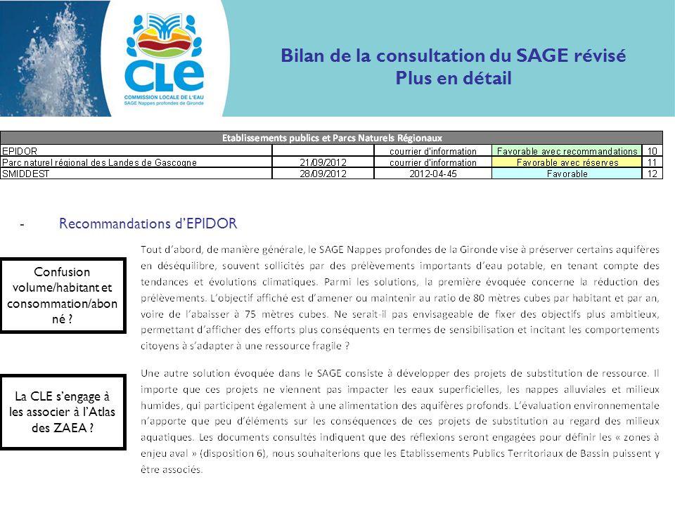 Bilan de la consultation du SAGE révisé Plus en détail -Recommandations dEPIDOR Confusion volume/habitant et consommation/abon né ? La CLE sengage à l