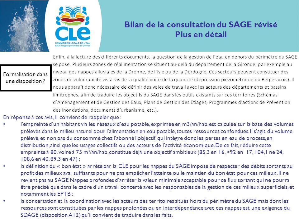 Bilan de la consultation du SAGE révisé Plus en détail Formalisation dans une disposition ? En réponse à ces avis, il convient de rappeler que : lempr
