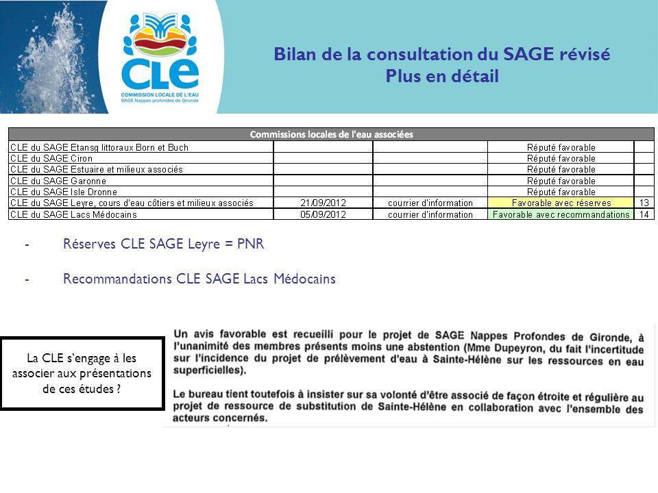 Bilan de la consultation du SAGE révisé Plus en détail -Réserves CLE SAGE Leyre = PNR -Recommandations CLE SAGE Lacs Médocains La CLE sengage à les as