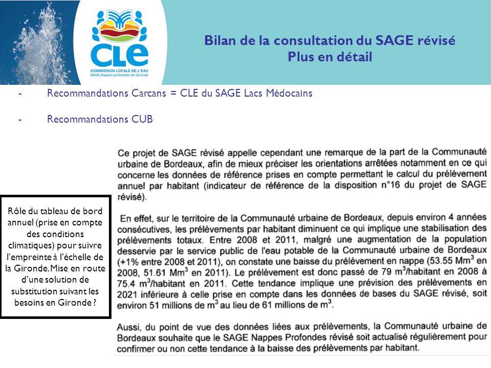 Bilan de la consultation du SAGE révisé Plus en détail -Recommandations Carcans = CLE du SAGE Lacs Médocains -Recommandations CUB Rôle du tableau de b