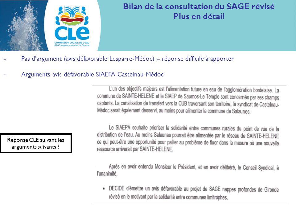 Bilan de la consultation du SAGE révisé Plus en détail -Pas dargument (avis défavorable Lesparre-Médoc) – réponse difficile à apporter -Arguments avis