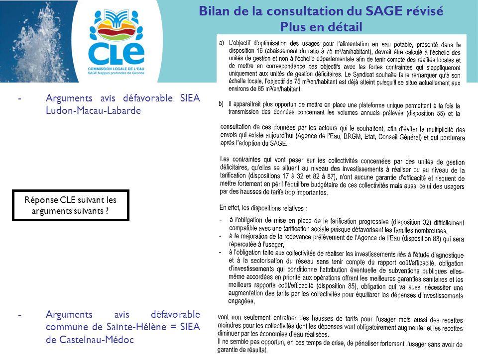 Bilan de la consultation du SAGE révisé Plus en détail -Arguments avis défavorable SIEA Ludon-Macau-Labarde -Arguments avis défavorable commune de Sai