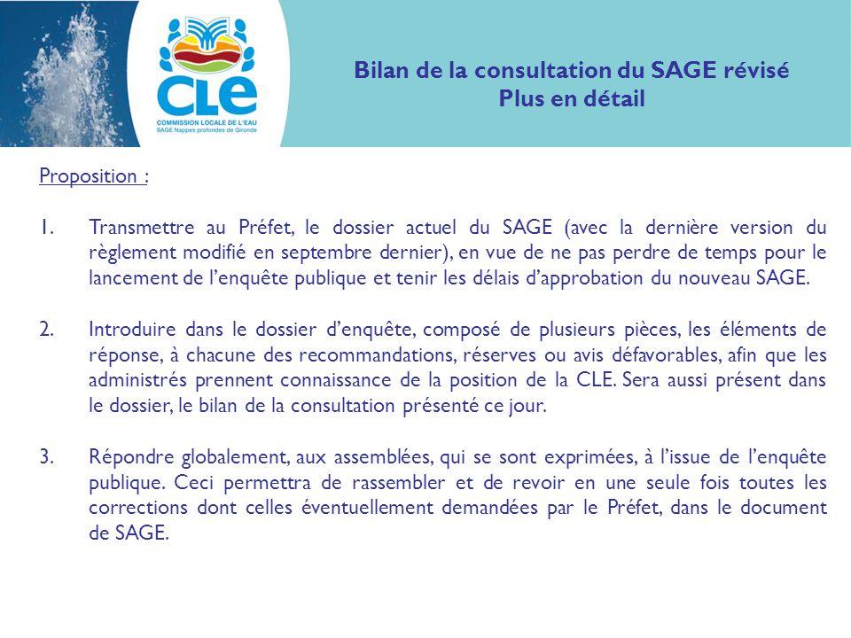 Bilan de la consultation du SAGE révisé Plus en détail Proposition : 1.Transmettre au Préfet, le dossier actuel du SAGE (avec la dernière version du r
