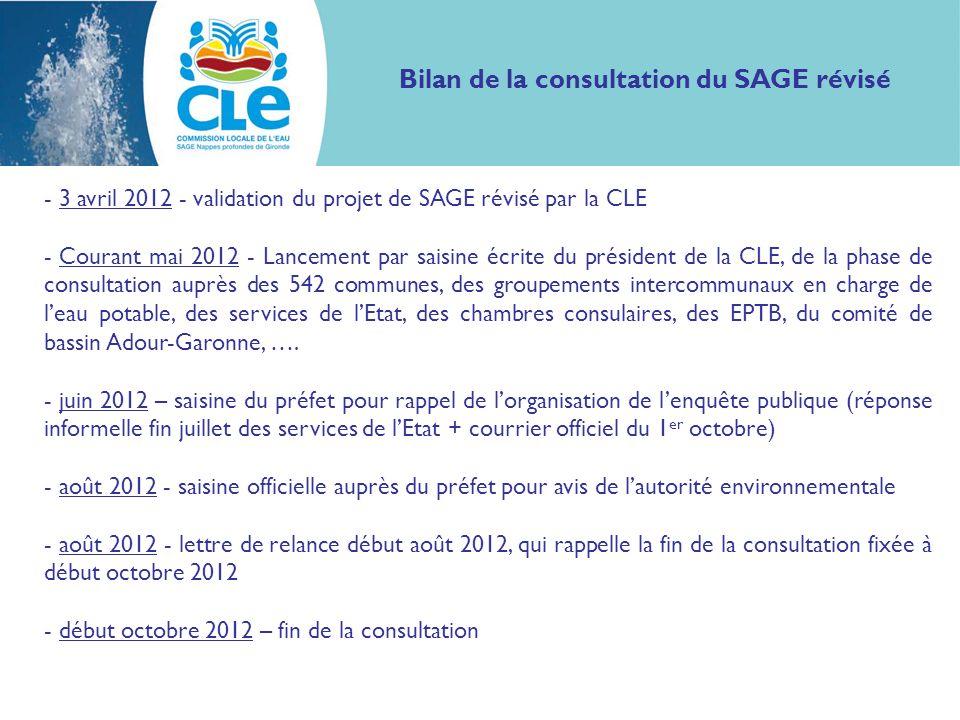 - 3 avril 2012 - validation du projet de SAGE révisé par la CLE - Courant mai 2012 - Lancement par saisine écrite du président de la CLE, de la phase