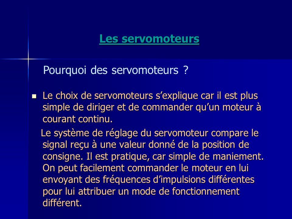 Les servomoteurs Le choix de servomoteurs sexplique car il est plus simple de diriger et de commander quun moteur à courant continu. Le choix de servo