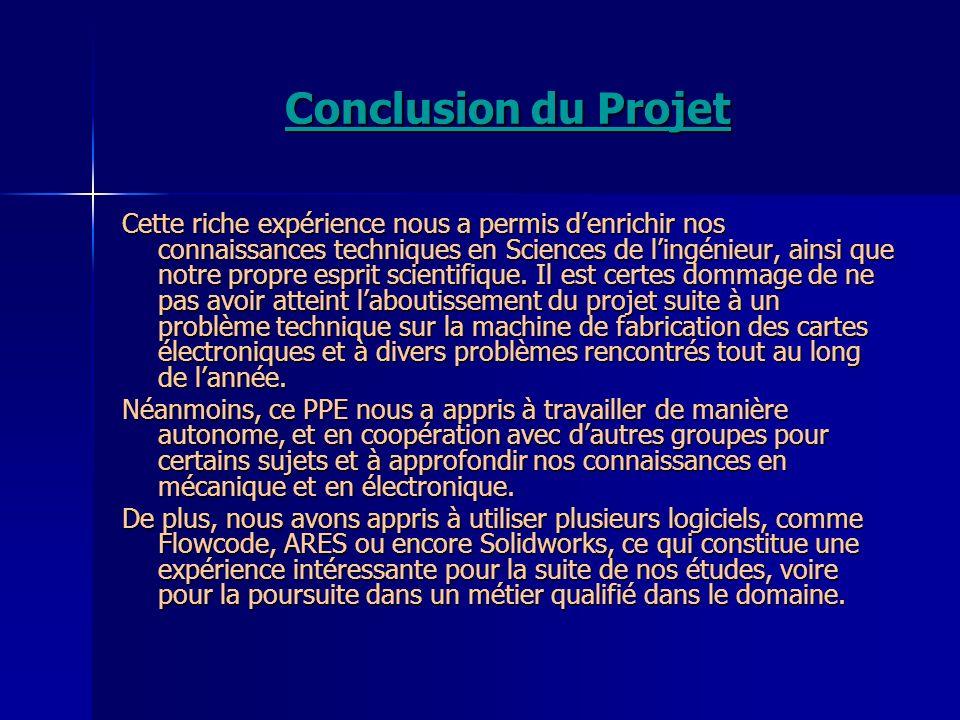 Conclusion du Projet Cette riche expérience nous a permis denrichir nos connaissances techniques en Sciences de lingénieur, ainsi que notre propre esp