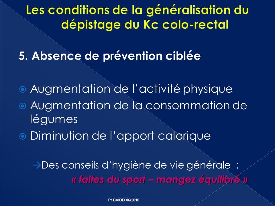 5. Absence de prévention ciblée Augmentation de lactivité physique Augmentation de la consommation de légumes Diminution de lapport calorique Des cons