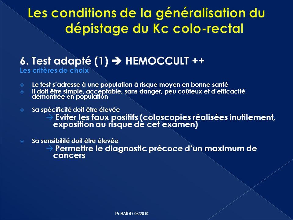 6. Test adapté (1) HEMOCCULT ++ Les critères de choix Le test sadresse à une population à risque moyen en bonne santé Il doit être simple, acceptable,