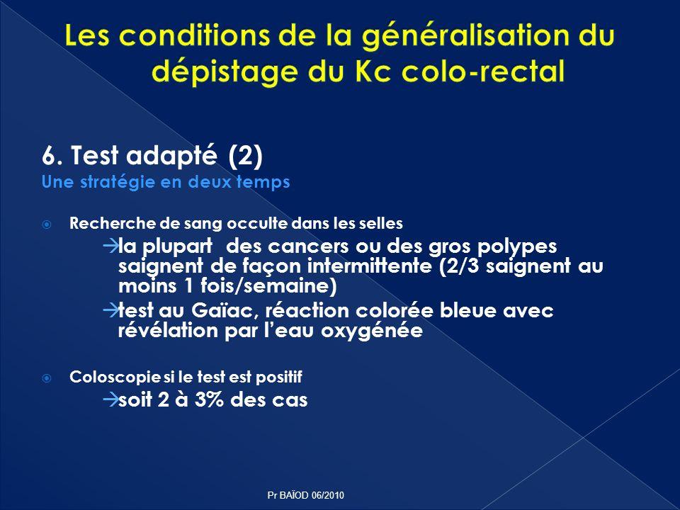 6. Test adapté (2) Une stratégie en deux temps Recherche de sang occulte dans les selles la plupart des cancers ou des gros polypes saignent de façon