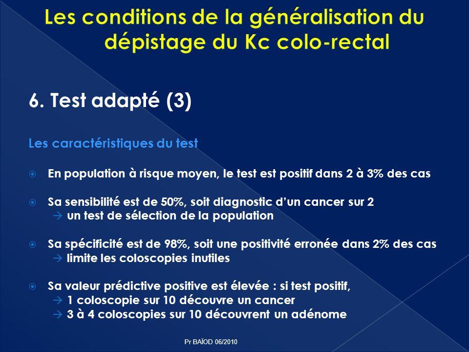 6. Test adapté (3) Les caractéristiques du test En population à risque moyen, le test est positif dans 2 à 3% des cas Sa sensibilité est de 50%, soit