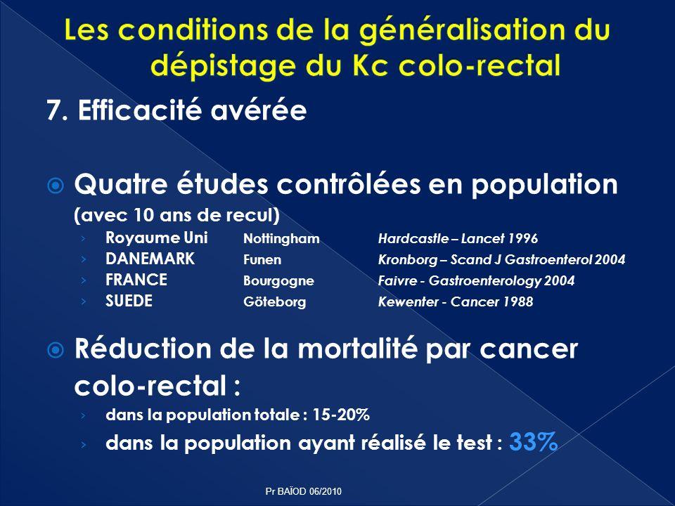 7. Efficacité avérée Quatre études contrôlées en population (avec 10 ans de recul) Royaume Uni Nottingham Hardcastle – Lancet 1996 DANEMARK Funen Kron