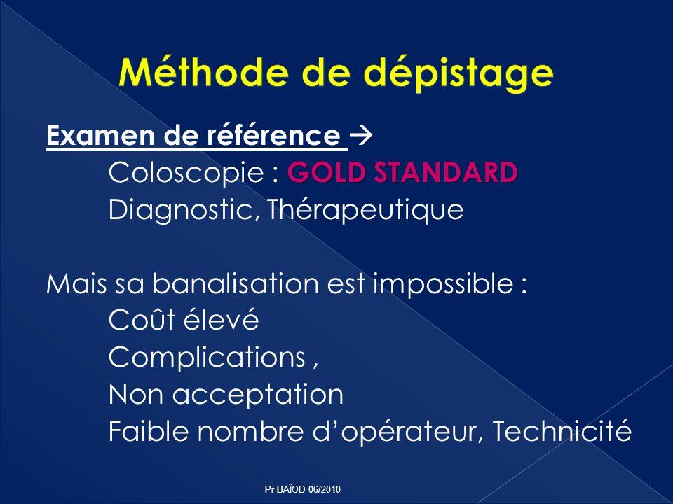 Examen de référence GOLD STANDARD Coloscopie : GOLD STANDARD Diagnostic, Thérapeutique Mais sa banalisation est impossible : Coût élevé Complications,