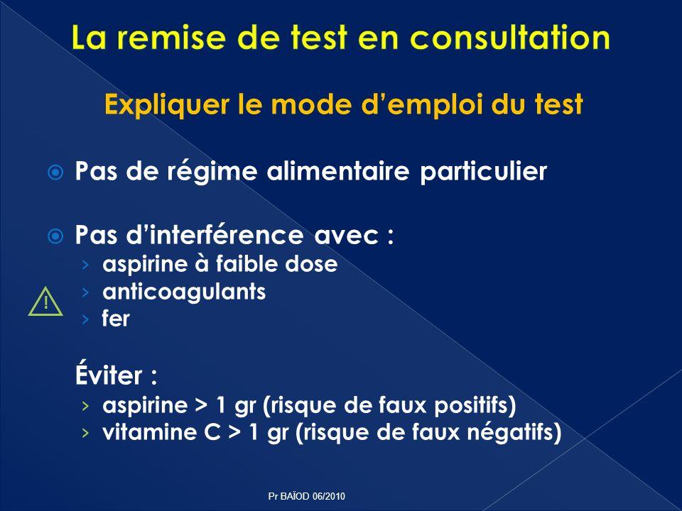 Expliquer le mode demploi du test Pas de régime alimentaire particulier Pas dinterférence avec : aspirine à faible dose anticoagulants fer Éviter : as