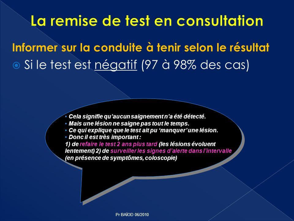 Informer sur la conduite à tenir selon le résultat Si le test est négatif (97 à 98% des cas) Cela signifie quaucun saignement na été détecté. Mais une