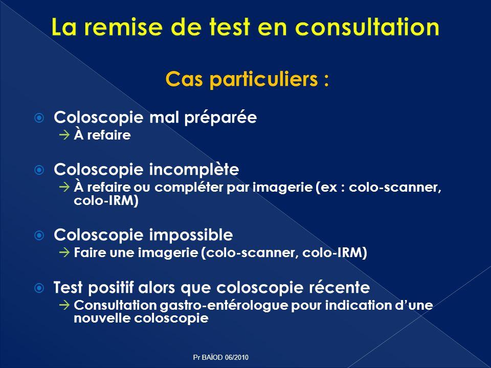 Cas particuliers : Coloscopie mal préparée À refaire Coloscopie incomplète À refaire ou compléter par imagerie (ex : colo-scanner, colo-IRM) Coloscopi