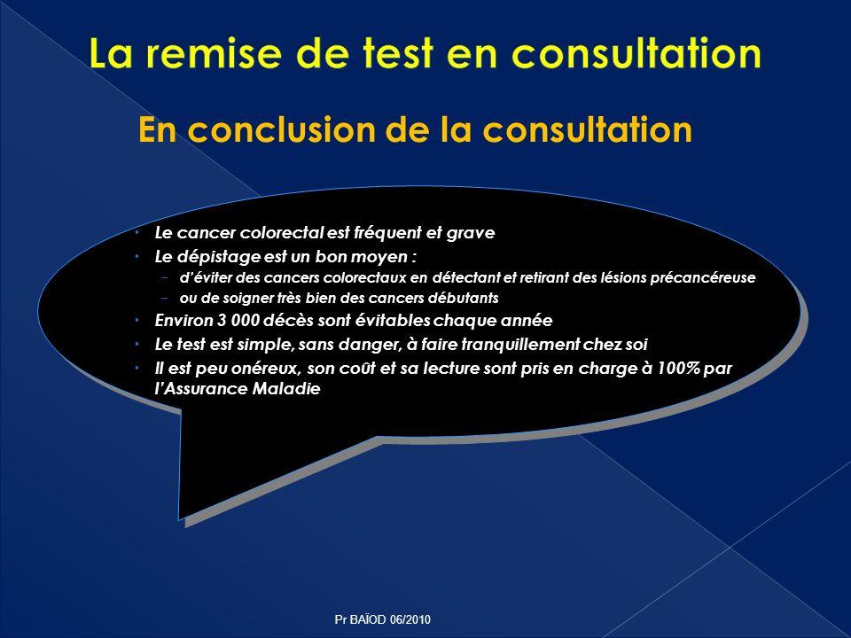 En conclusion de la consultation Le cancer colorectal est fréquent et grave Le dépistage est un bon moyen : déviter des cancers colorectaux en détecta