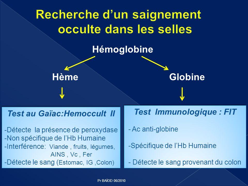 Hémoglobine Hème Globine Test au Gaïac:Hemoccult II -Détecte la présence de peroxydase -Non spécifique de lHb Humaine -Interférence: Viande, fruits, l