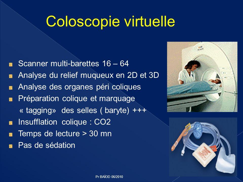 Scanner multi-barettes 16 – 64 Analyse du relief muqueux en 2D et 3D Analyse des organes péri coliques Préparation colique et marquage « tagging» des