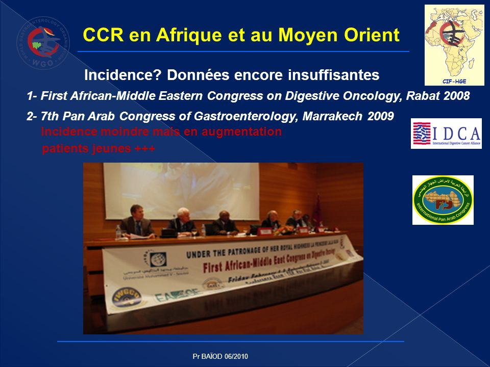 CCR en Afrique et au Moyen Orient Incidence? Données encore insuffisantes 1- First African-Middle Eastern Congress on Digestive Oncology, Rabat 2008 2