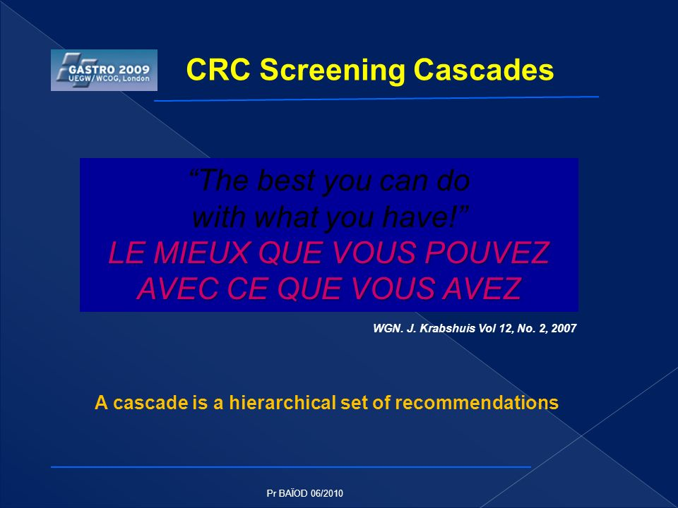 The best you can do with what you have! LE MIEUX QUE VOUS POUVEZ AVEC CE QUE VOUS AVEZ CRC Screening Cascades WGN. J. Krabshuis Vol 12, No. 2, 2007 A