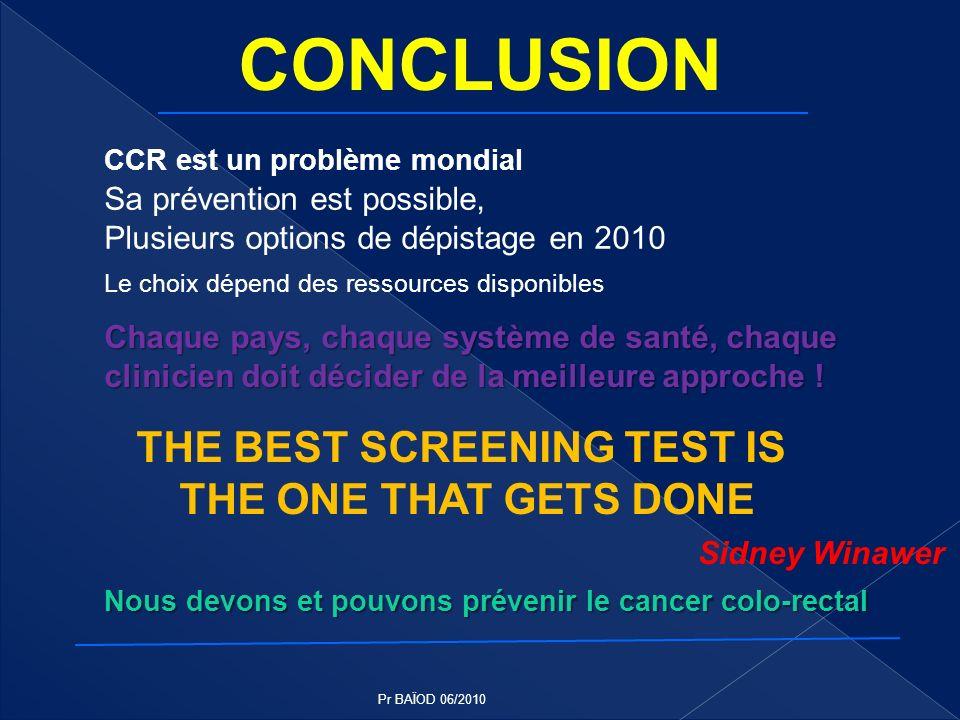 CCR est un problème mondial Sa prévention est possible, Plusieurs options de dépistage en 2010 Le choix dépend des ressources disponibles Chaque pays,
