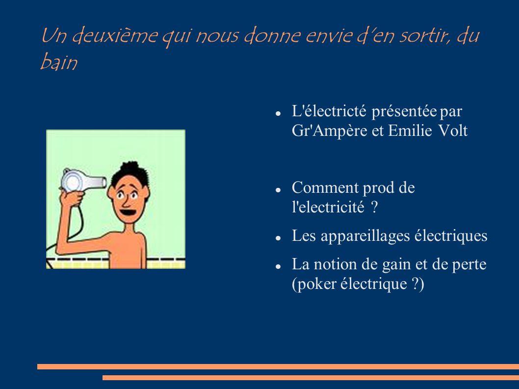 Un deuxième qui nous donne envie d'en sortir, du bain L'électricté présentée par Gr'Ampère et Emilie Volt Comment prod de l'electricité ? Les appareil