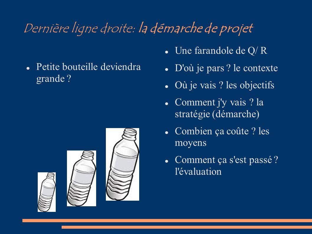 Dernière ligne droite: la démarche de projet Petite bouteille deviendra grande ? Une farandole de Q/ R D'où je pars ? le contexte Où je vais ? les obj