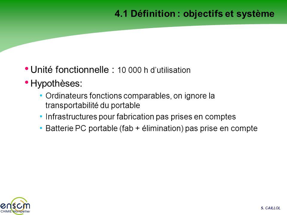S. CAILLOL 4.1 Définition : objectifs et système Unité fonctionnelle : 10 000 h dutilisation Hypothèses: Ordinateurs fonctions comparables, on ignore