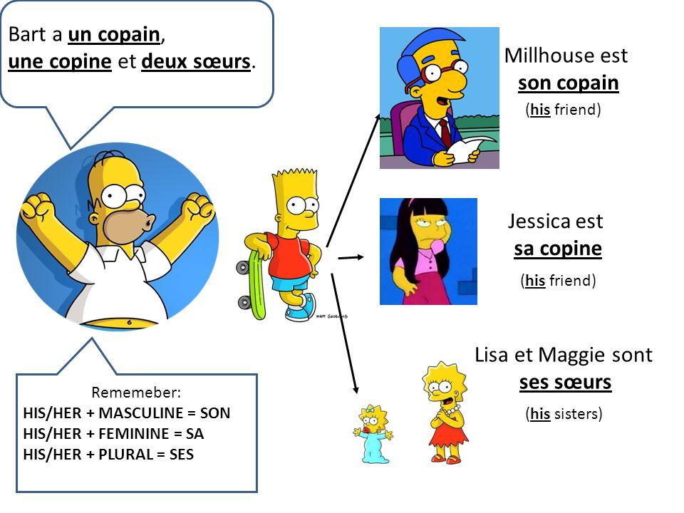 Bart a un copain, une copine et deux sœurs. Millhouse est son copain (his friend) Jessica est sa copine (his friend) Lisa et Maggie sont ses sœurs (hi
