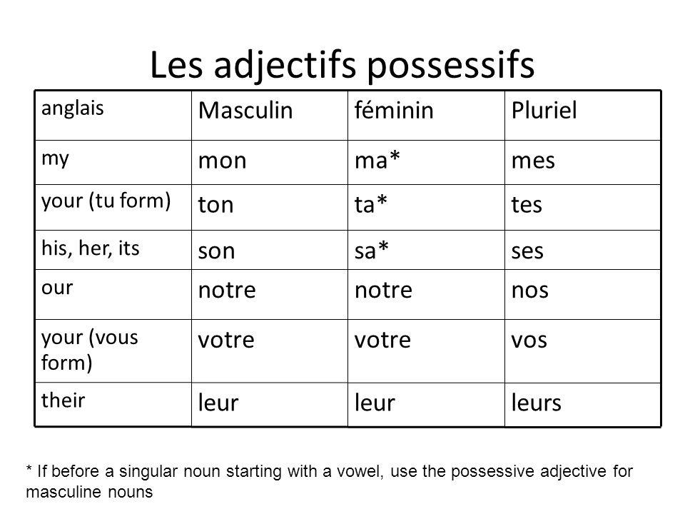 Les adjectifs possessifs nosnotre our leursleur their vosvotre your (vous form) sessa*son his, her, its testa*ton your (tu form) mesma*mon my Plurielf