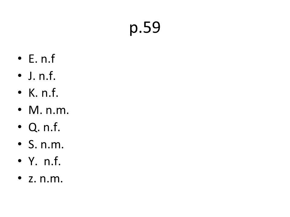 p.59 E. n.f J. n.f. K. n.f. M. n.m. Q. n.f. S. n.m. Y. n.f. z. n.m.