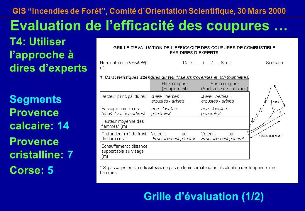 GIS Incendies de Forêt, Comité dOrientation Scientifique, 30 Mars 2000 T4: Utiliser lapproche à dires dexperts Segments Provence calcaire: 14 Provence