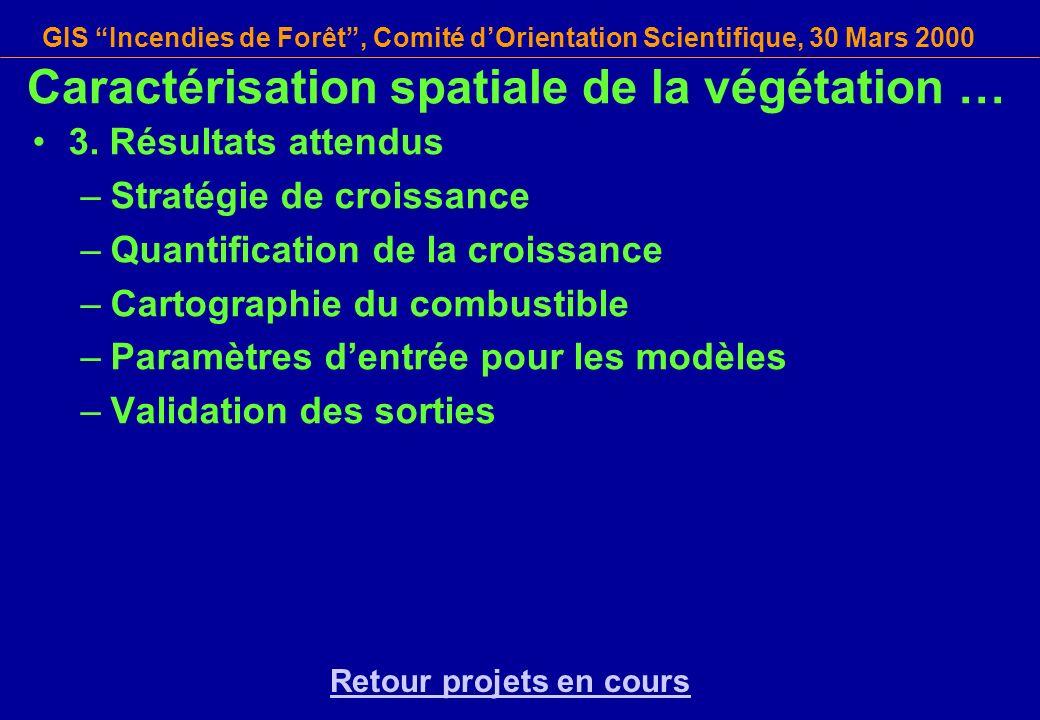 GIS Incendies de Forêt, Comité dOrientation Scientifique, 30 Mars 2000 3. Résultats attendus –Stratégie de croissance –Quantification de la croissance