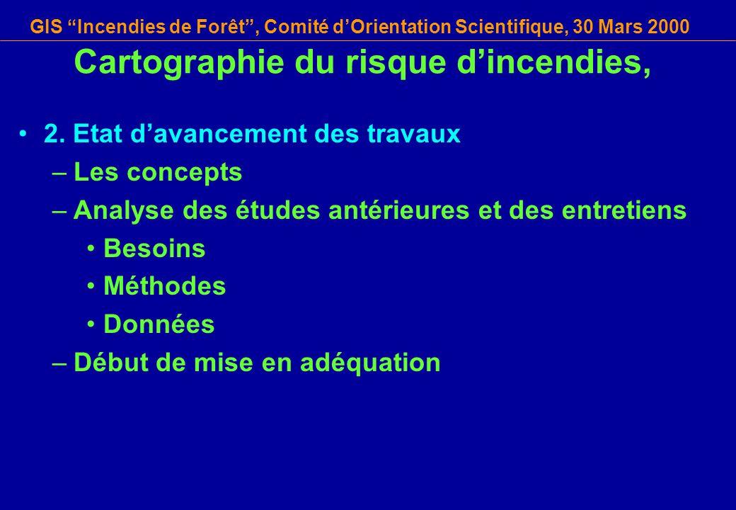 GIS Incendies de Forêt, Comité dOrientation Scientifique, 30 Mars 2000 Cartographie du risque dincendies, 2. Etat davancement des travaux –Les concept