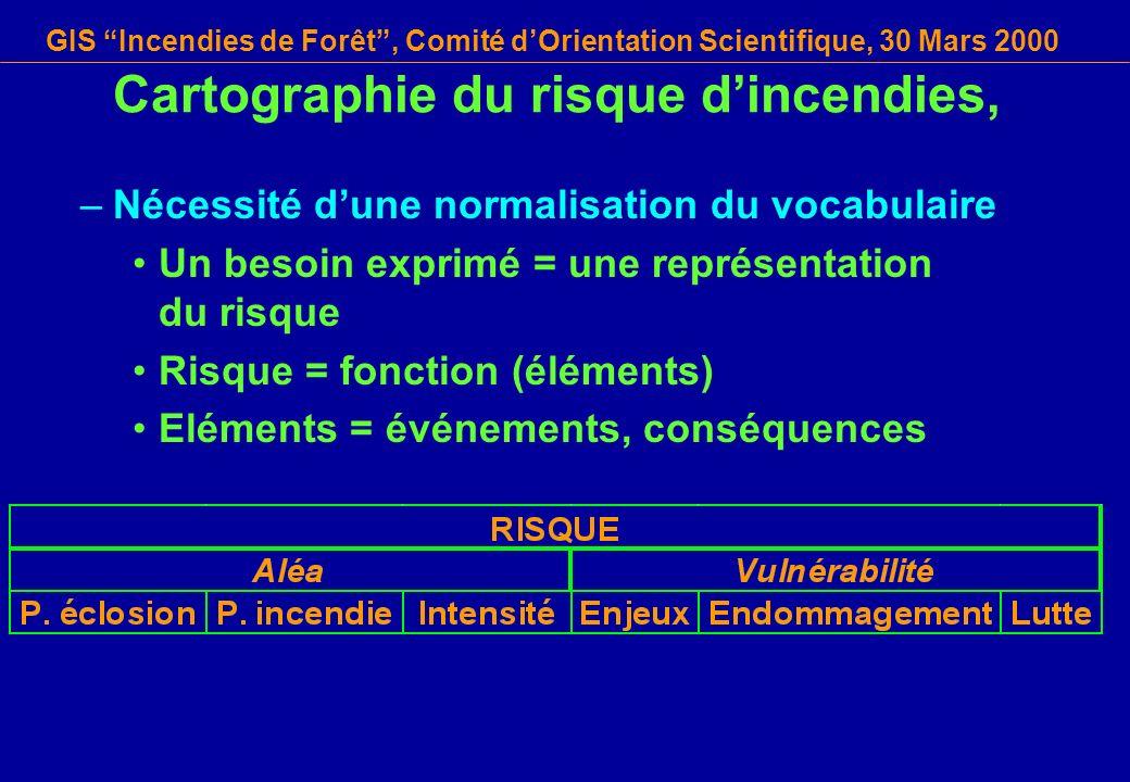 GIS Incendies de Forêt, Comité dOrientation Scientifique, 30 Mars 2000 Cartographie du risque dincendies, –Nécessité dune normalisation du vocabulaire
