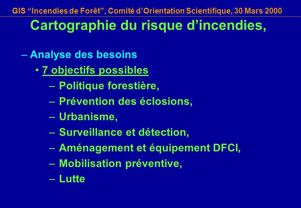 GIS Incendies de Forêt, Comité dOrientation Scientifique, 30 Mars 2000 Cartographie du risque dincendies, –Analyse des besoins 7 objectifs possibles –