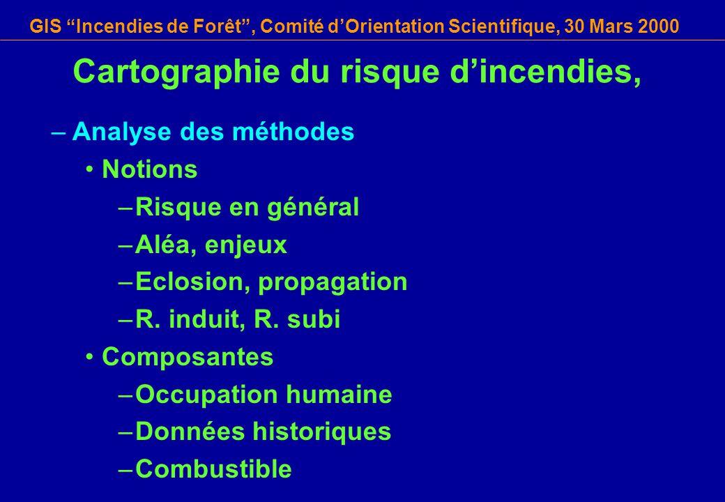 GIS Incendies de Forêt, Comité dOrientation Scientifique, 30 Mars 2000 Cartographie du risque dincendies, –Analyse des méthodes Notions –Risque en gén