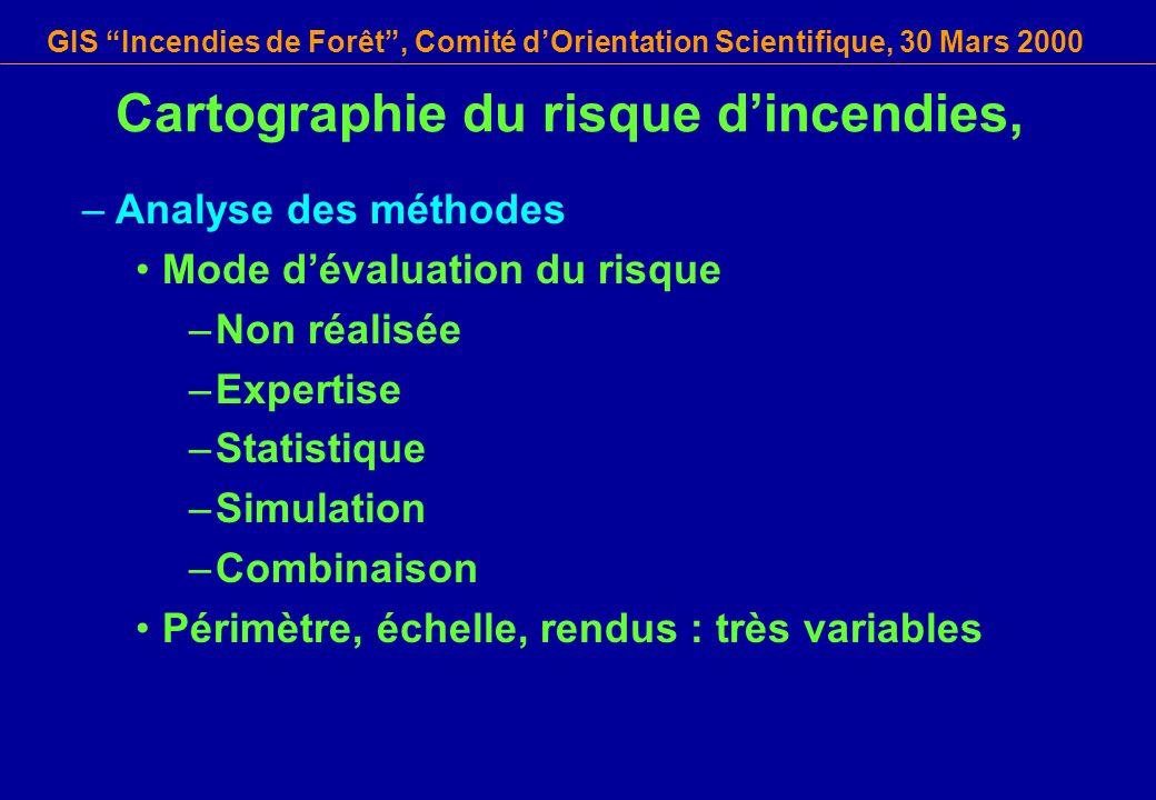GIS Incendies de Forêt, Comité dOrientation Scientifique, 30 Mars 2000 Cartographie du risque dincendies, –Analyse des méthodes Mode dévaluation du ri