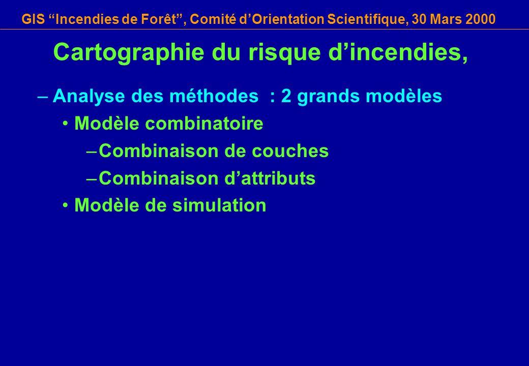 GIS Incendies de Forêt, Comité dOrientation Scientifique, 30 Mars 2000 Cartographie du risque dincendies, –Analyse des méthodes : 2 grands modèles Mod