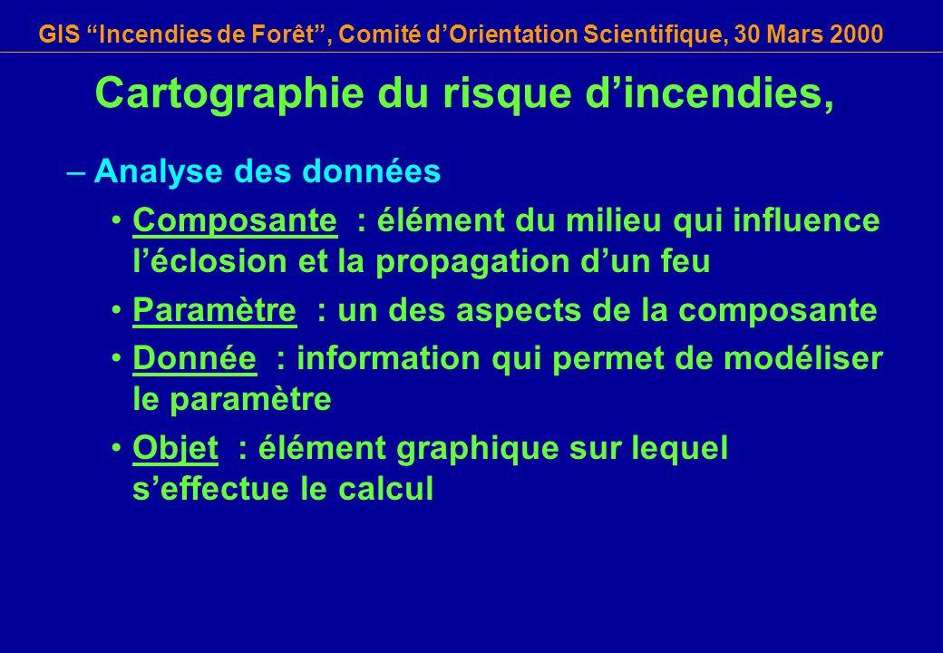 GIS Incendies de Forêt, Comité dOrientation Scientifique, 30 Mars 2000 Cartographie du risque dincendies, –Analyse des données Composante : élément du