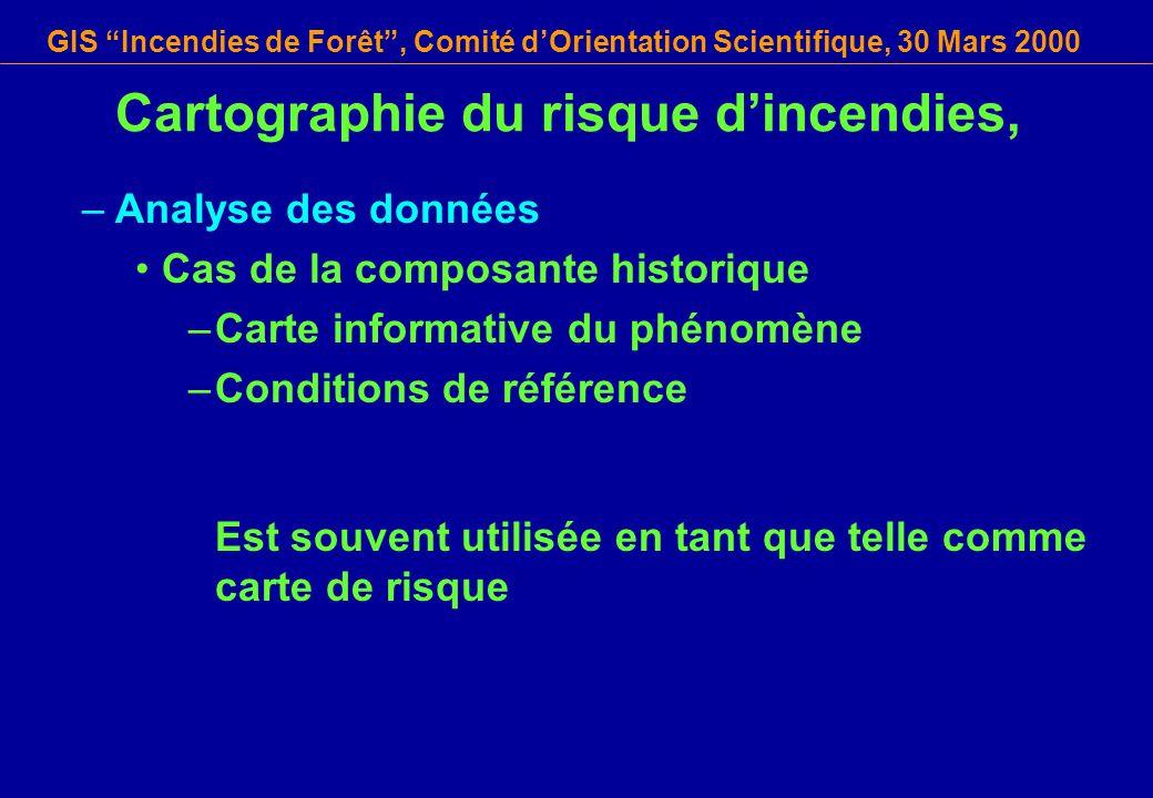 GIS Incendies de Forêt, Comité dOrientation Scientifique, 30 Mars 2000 Cartographie du risque dincendies, –Analyse des données Cas de la composante hi